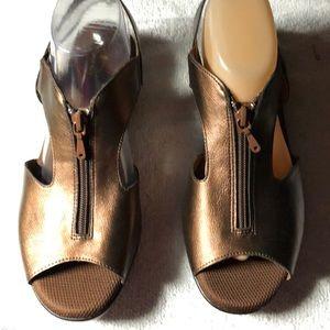 St John Bay Women Bronze Wedge Zipper Sandal Shoes